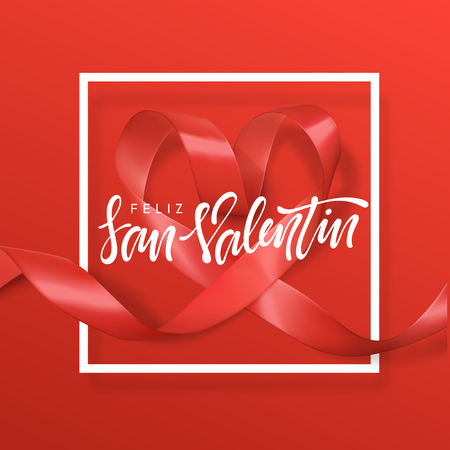 Feliz san Valentin lettering greeting card on red ribbon heart background. Festive banner and poster.