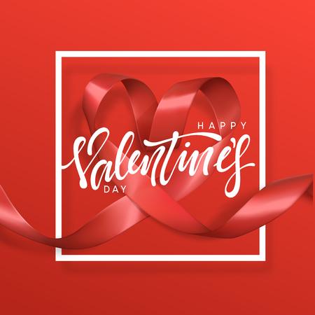 Glückliche Valentinstagbeschriftungs-Grußkarte auf rotem Bandherzhintergrund. Festliche Banner und Poster. Standard-Bild - 93947440