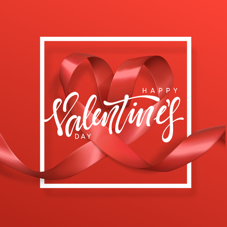 Happy Valentines Day lettering greeting card on red ribbon heart background. Festive banner and poster. Stock Illustratie