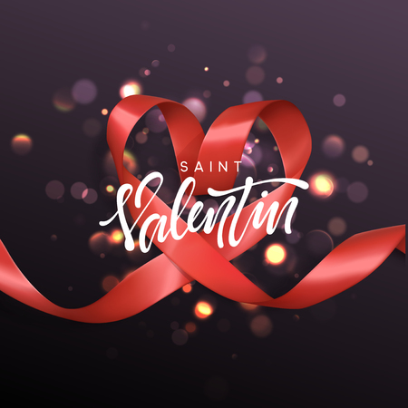 Saint Valentin lettering greeting card on red ribbon heart background. Festive banner and poster.