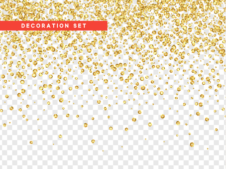 Gold sequins texture isolated with transparent background.