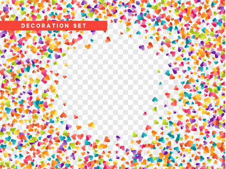 Colorful confetti hearts isolated with transparent background. Vector illustration.