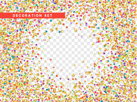 Colorful confetti and gold sequins isolated with transparent background. Vector illustration Illustration