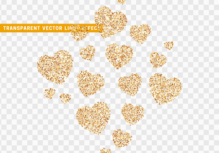 Gold heart bright glitter, isolated with transparent background. Stock Illustratie