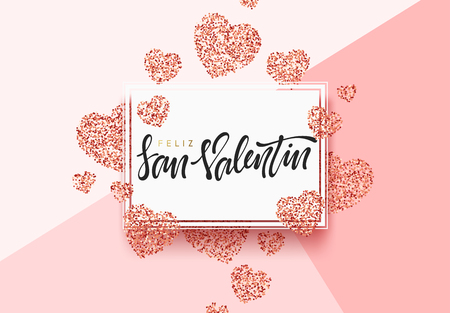 Spanish lettering Feliz San Valentin, greeting card on red bright heart background. Festive banner and poster.