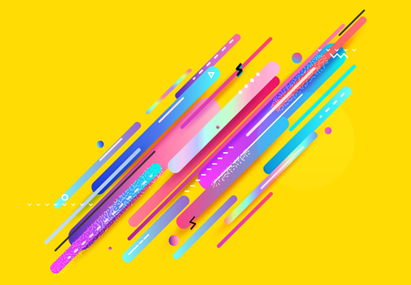 Modern design abstract illustration. Color trend elements on yellow background. Illustration