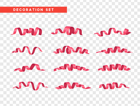 Pink confetti celebration. Ribbon serpentine, isolated with transparency background effect.