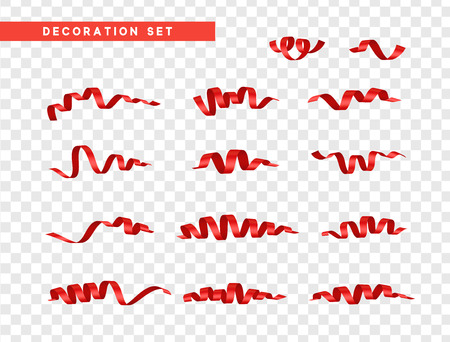 Red confetti celebration. Ribbon serpentine, isolated with transparency background effect.