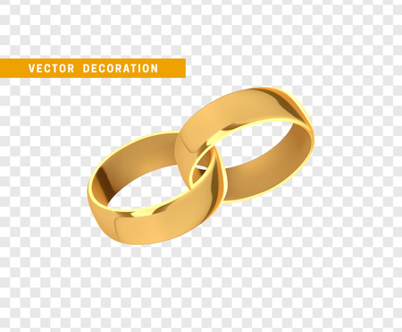 Golden wedding rings, realistic design isolated on transparent background.