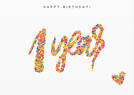 One years, lettering sign from confetti. Holiday Happy birthday. Vector illustration.