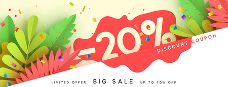 Horizontal sale banner border. Discount coupon cards, headers website. Vector design paper art. Price offer posters, flyers brochure.