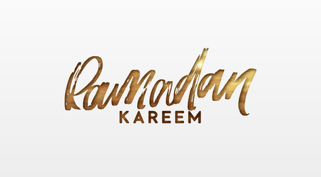 Ramadan Kareem. Text golden handwritten calligraphy. Lettering isolated on white background Illustration