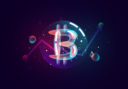 Bitcoin Crypto. Design of electronic cryptocurrency market finance, business concept coin money. Colored abstract fluid gradient splash shapes. Illustration