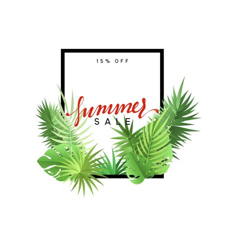 夏季设计框架布局。与棕榈树枝的海报销售。与绿色热带叶子的横幅。