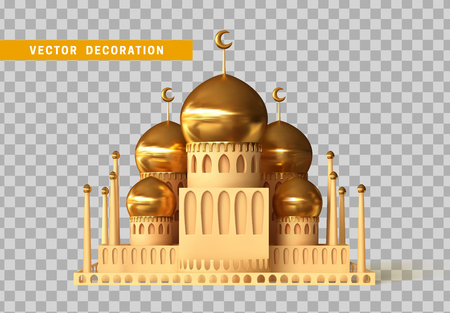 Mosque building realistic 3d design isolated with transparent background vector illustration.