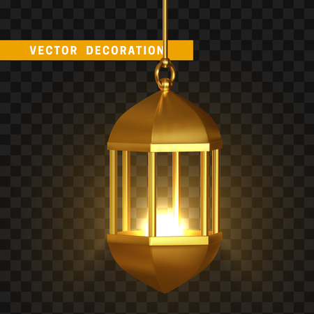 Gold vintage lanterns. Arabic shining lamps. Isolated hanging realistic lamps. Effects of transparent vector background Stock Photo