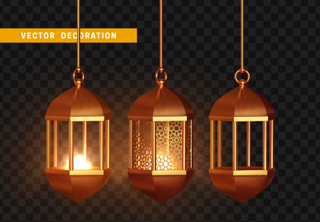 Gold vintage luminous lanterns. Arabic shining lamps. Isolated hanging realistic lamps. Effects of transparent vector background Stock Photo