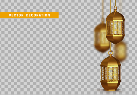 Gold vintage luminous lanterns. Arabic shining lamps. Isolated hanging realistic lamps. Effects of transparent vector background Illustration