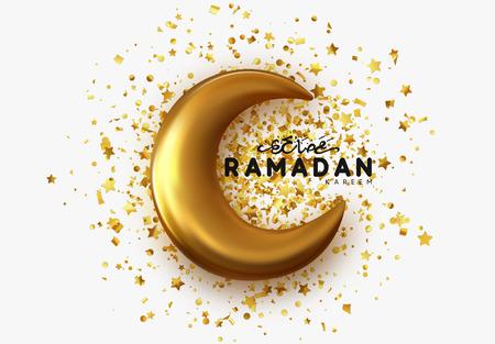 Ramadan Kareem islamic design gold crescent moon with arabic handwritten calligraphy. Illustration