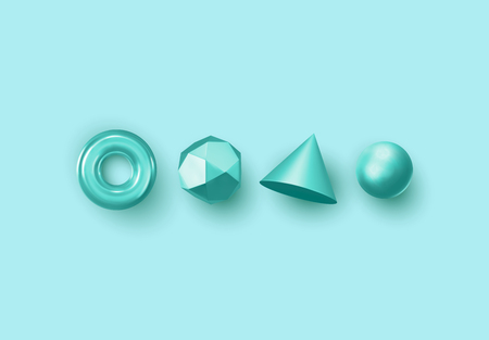 Set of 3d realistic elements isolated on colored background. Spheres, torus, cones and other geometric shapes. Blue colors for trendy designs.