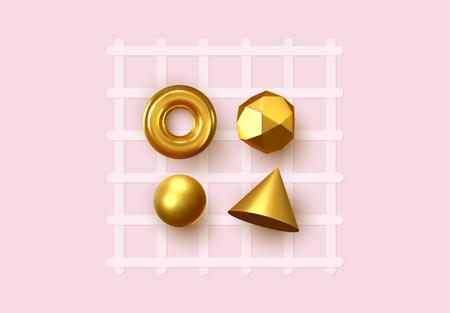 Abstract geometric background. 3D Shapes, golden color spheres, torus, cones. Art Trendy Minimal Design