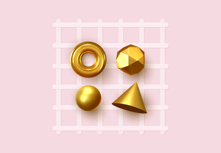 Abstract geometric background. 3D Shapes, golden color spheres, torus, cones. Art Trendy Minimal Design