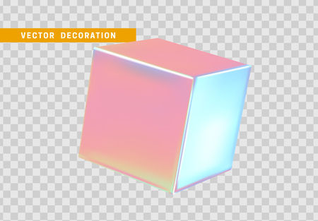 3d cube, geometric square isolated realistic on transparent background.