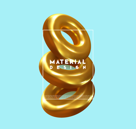 Minimal abstract art with geometric shapes, stylish background with 3d elements gold torus. Fashion poster, banner, design card vector illustration Illustration