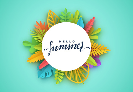 Tropic summer background, palm leaf, paper flower. White frame with place for text. Vector colorful floral shape