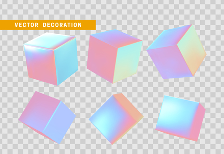 Design element set in shape of 3d cubes bright neon color. Square isolated with transparent background