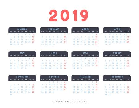 Simple European calendar for 2019 years, week starts on Monday.