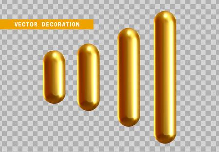 Set 3d shape isolated golden capsule on transparent background. Vektorové ilustrace