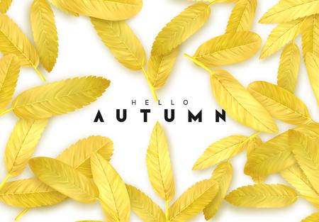 Follaje de otoño. Fondo de otoño con hojas doradas