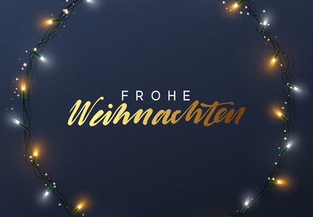Glowing Christmas lights Wreath for Xmas Holiday greeting cards design. German text Frohliche Weihnachten