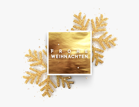 German text Frohe Weihnachten. Christmas background, golden square frame with shining gold snowflakes sprinkled sparkles. Xmas greeting illustration. Vector card, poster, banner, Illustration
