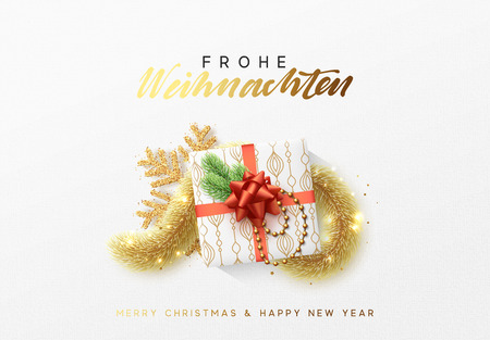 Merry Christmas greeting card. Xmas holiday background, gift box with gold tinsel and bright golden snowflake. German text Frohe Weihnachten