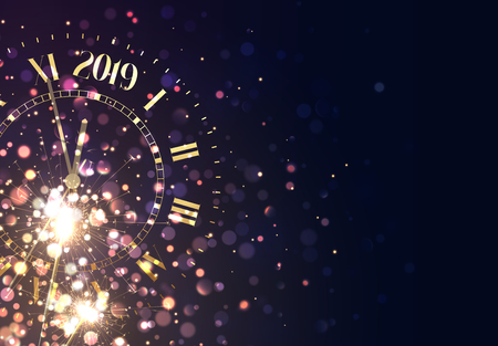 2019 New Years background vintage gold shining clock report time five minutes to midnight. Illustration