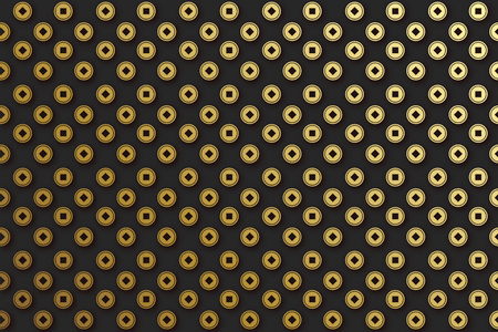 Chinese coins, background seamless pattern. Texture asian shape of money in golden color.