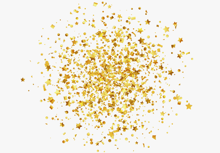 Falling shiny golden confetti isolated on transparent background. Bright festive tinsel of gold color.
