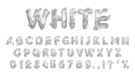 Alphabet colors white. Paper cut letter. Fluid typeface, texture style papercut. Design 3d sign isolated on white background. Alphabet font of melting liquid. Stock Illustratie