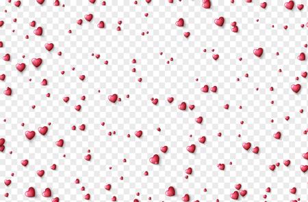 Shape 3D hearts color pink on transparent background.