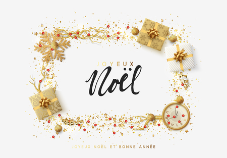 French text Joyeux Noel. Christmas bright background with golden Xmas decorations. Merry christmas greeting card. Glitter gold composition. Happy New Year. Elegant Holiday Frame Illustration