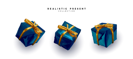 Set presents. Blue gift boxes realistic design. Isolated on white background