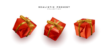 Set presents. Red gift boxes realistic design. Isolated on white background