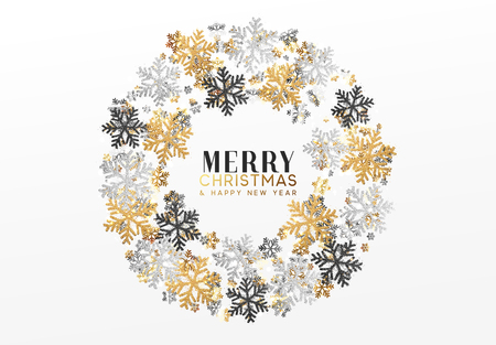 Merry Christmas and Happy New Year. Xmas background with Shining gold Snowflakes. Greeting card, holiday banner, web poster Illustration