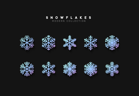 Set vector snowflakes. Collection of snowflake winter decoration. Isolated on black background Çizim