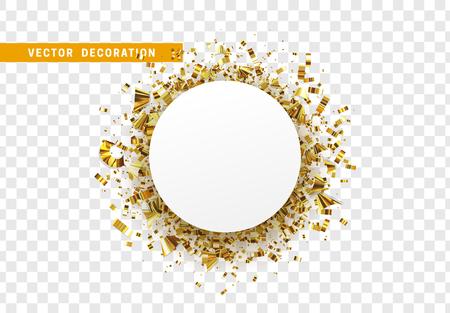 Fondo de celebración dorada con oropel de confeti dorado. Marco redondo de papel blanco, burbuja de texto. Aislado sobre fondo transparente