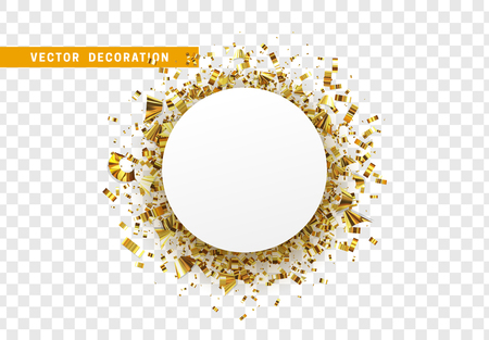 Golden celebration background with confetti gold tinsel. Round white paper frame, bubble for text. Isolated on transparent background