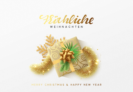 German text Frohliche Weihnachten. Merry Christmas greeting card. Xmas holiday background, gift box with gold tinsel and bright golden snowflake. Illustration