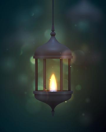 Vintage dark blue lantern with a burning realistic fire.